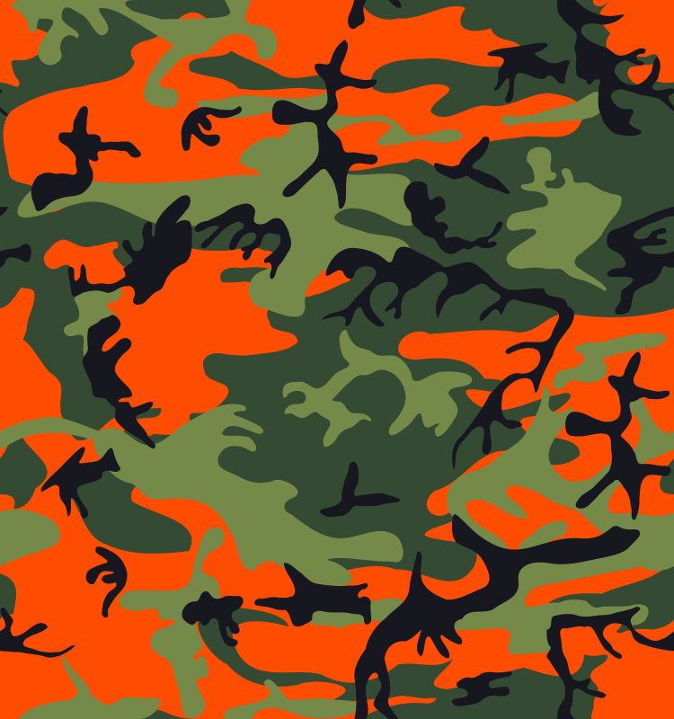 Camo Print - Hunter Orange by eady - Here's a camo print with hunter orange in it.  Tileable.