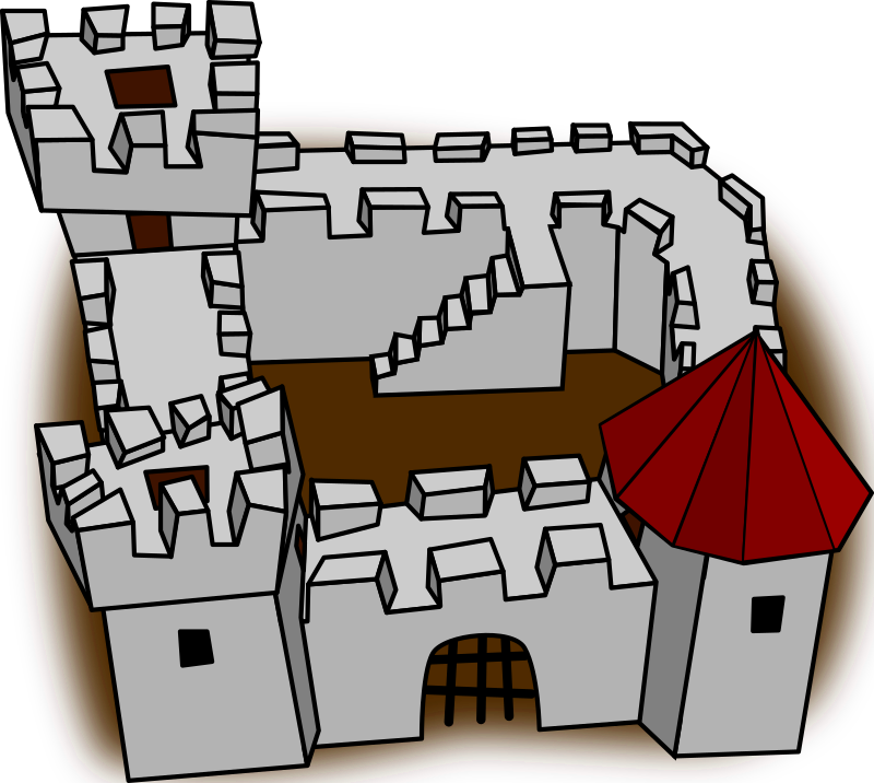 "Ugly non-perspective cartoony fort fortress, stronghold or castle by qubodup - This is a simple cartoon/stick men-style fort I made for ""Imperium: Sticks"" at http://rtciv.sf.net/"