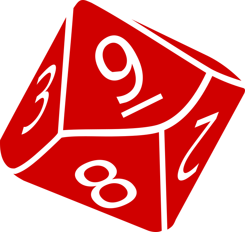 Ten Sided Dice by wirelizard - A single-colour graphic of a 10-sided die (d10) as used in roleplaying and wargaming.
