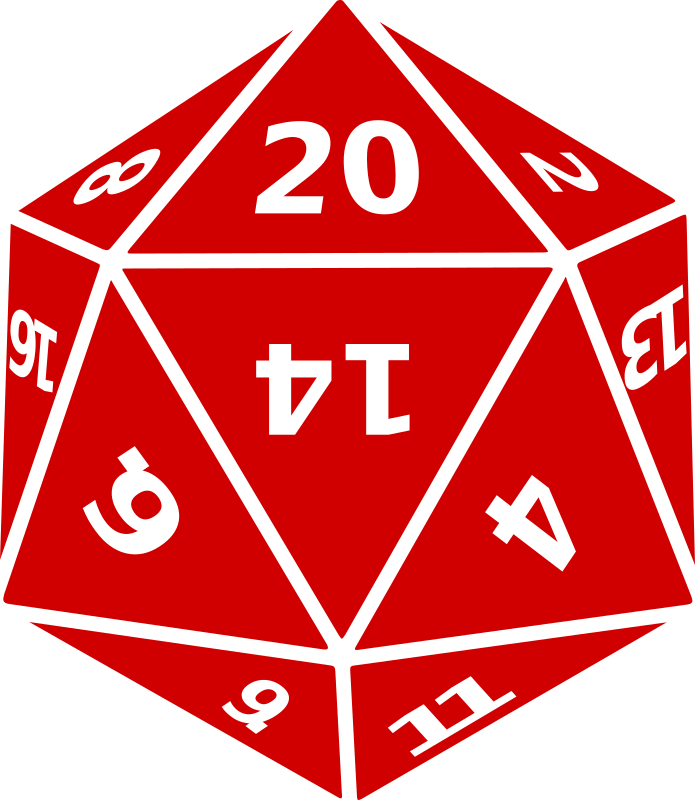 Twenty-Sided Dice by wirelizard - A twenty-sided die (d20) as used in wargaming and roleplaying, most famously in Dungeons & Dragons.