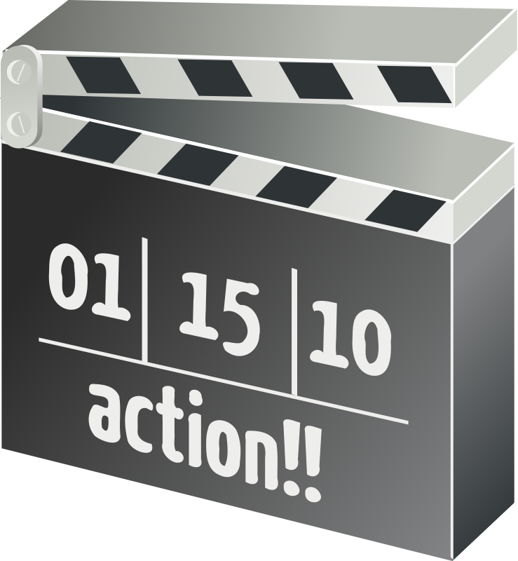 movie clapperboard by rg1024 - A clapper board with the scene and the action text.