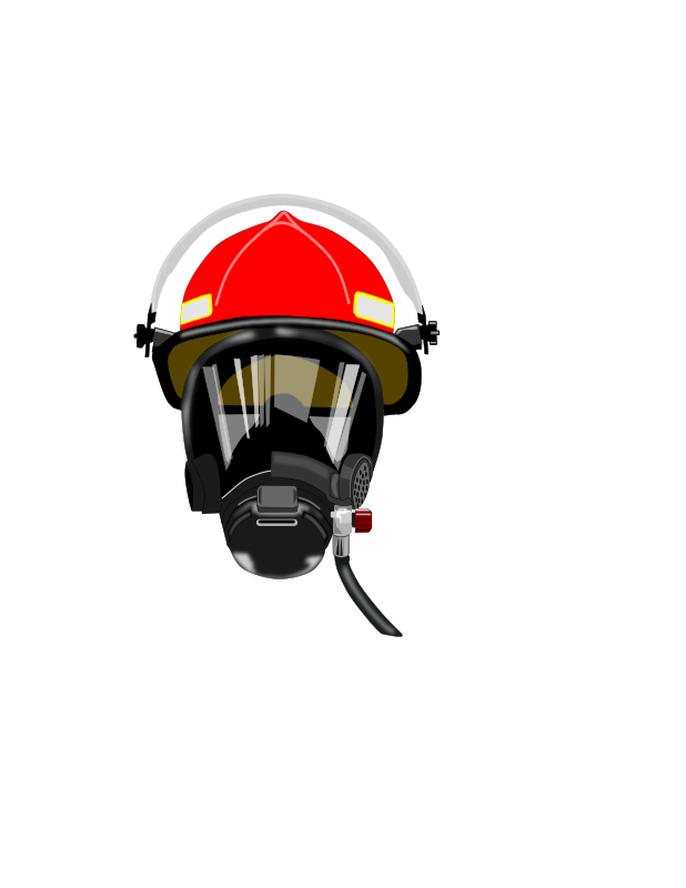 fire helmet/mask by dashell - Red fire helmet with O2 mask with highlights