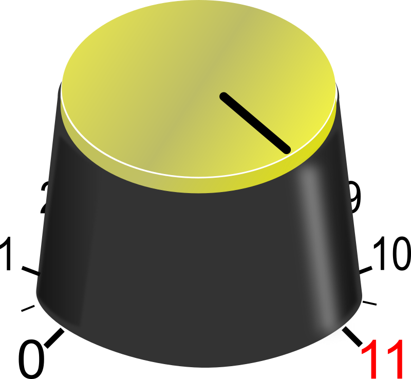 "Go to eleven! by J_Alves - A guitar-amp like volume knob that goes to... 11, if you know what I mean (if you don't, watch the ""mockumentary"" called ""This Is Spinal Tap""). Drawn in Inkscape."