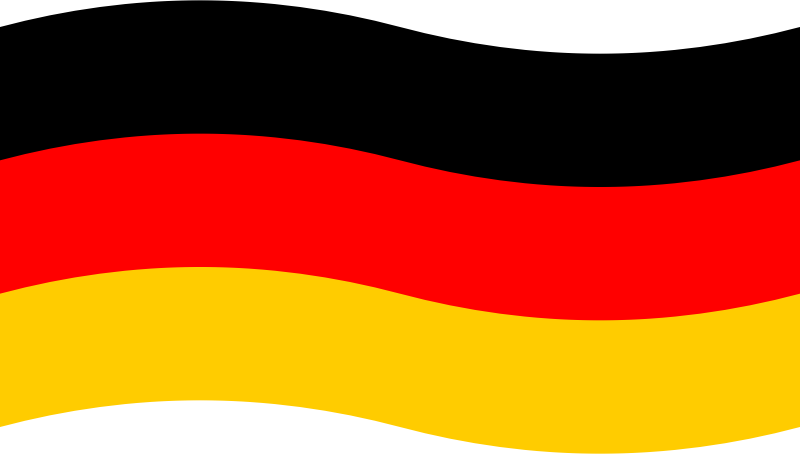 Schwarz Rot Gold by skotan - The black-red-gold tricolour of Germany, slightly bent to display a waving flag. This graphic is meant to be used at small scale as a button in a language selection menu. It could easily be adapted to display similar flags with different colours.