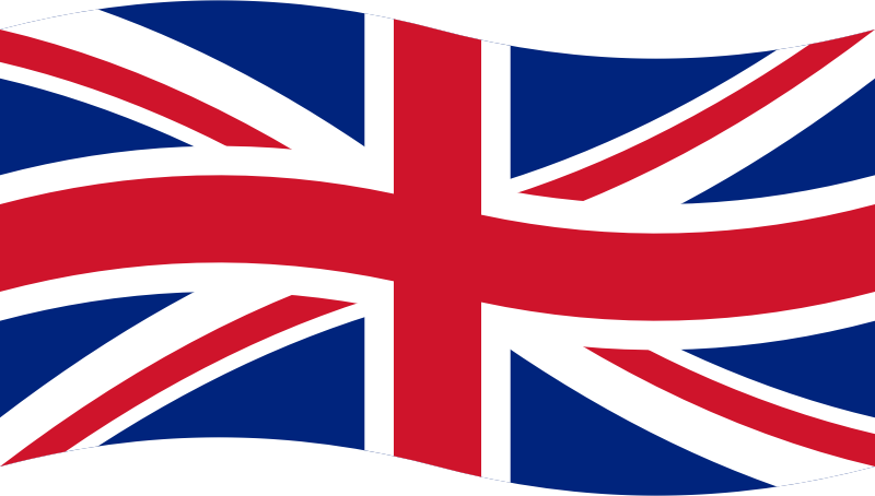 Union Flag by skotan - The national flag of the United Kingdom of Great Britain and Northern Ireland, slightly bent to display a waving flag. This graphic is meant to be used at small scale as a button in a language selection menu.