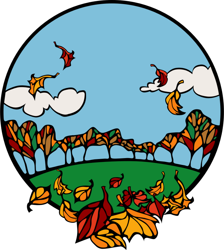 Fall scene in a circle by Anonymous -