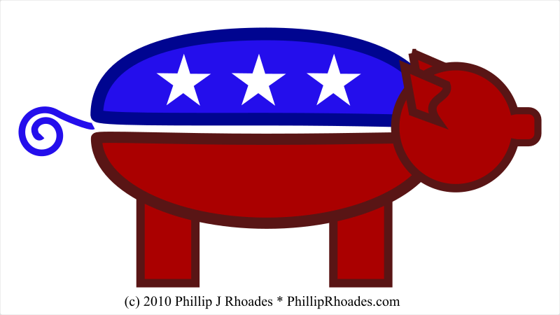 GOP Pig by semjaza - This is a GOP piggy. You may interpret as you will. Maybe the GOP is saving for the future, maybe the GOP is a greedy piggy. Whichever you like.