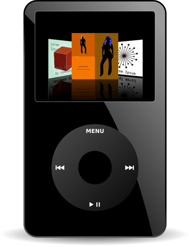 iPod MediaPlayer by flomar - This is an iPod MediaPlayer. There is a problem with the SVG rendering in Firefox, for preview please see PNG file. Download the SVG and open it with your vector drawing application to watch the SVG directly.
