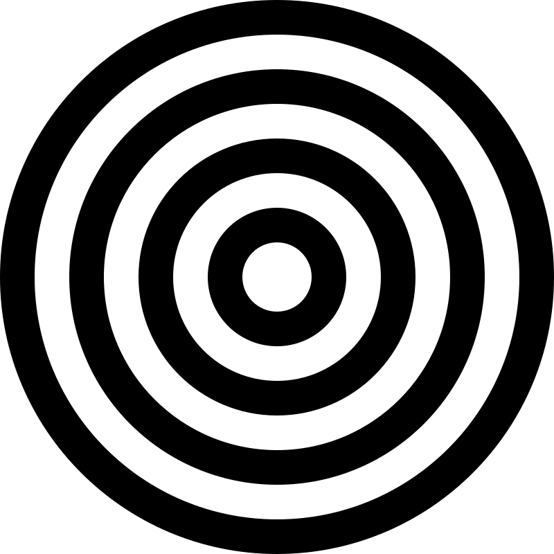 target black and white by 10binary - A target made of circles. I drew it in inkscape but saved as plain svg as the FAQ said.