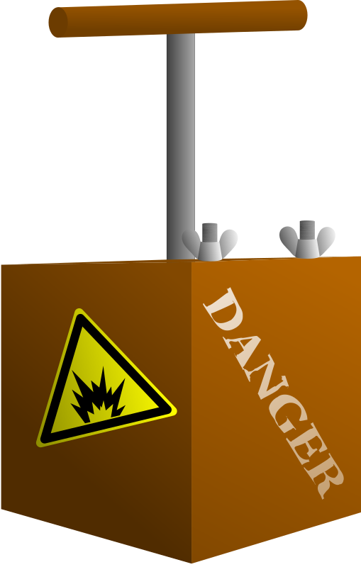 Detonator Box by klaasvangend - This is a detonator box. when the handle is pushed down, a dynamo will generate a spark that was used to ignite e.g. dynamite. 