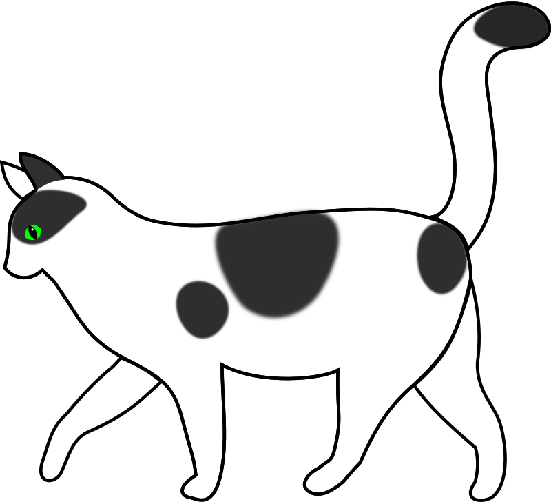 "white cat walking by papapishu - I've sketched it first on a tablet and then cleaned up a bit with Bezier curves. The cat was transparent instead of white; now I've fixed it. I've also added a ""negative"" version"" :)"