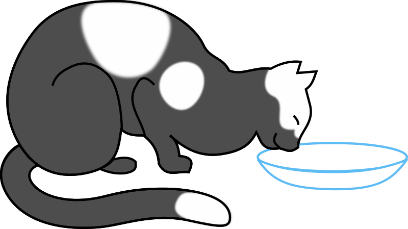white cat drinking 2 by papapishu - cat cartoon