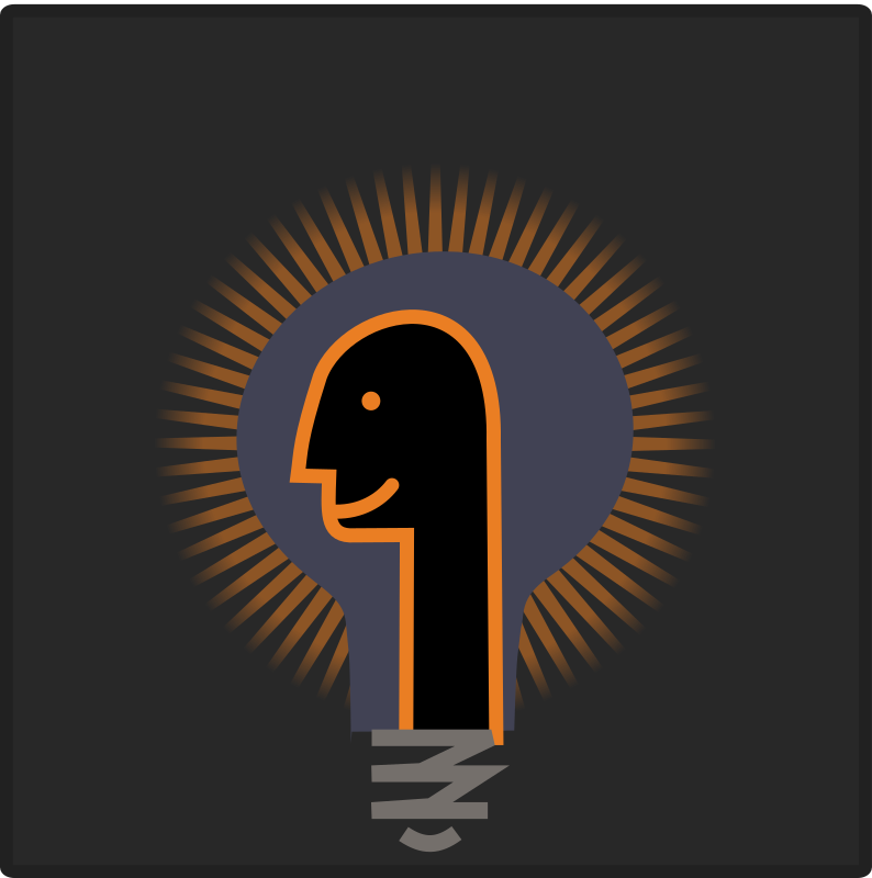 Psy bulb icon by ben - A head in front of a glowing lightbulb.