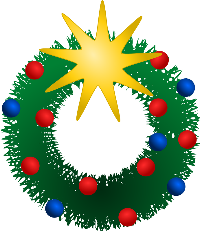 Festive Wreath by kattekrab - A simple decorative wreath to bring some festive cheer. Red and Blue baubles and a bright yellow star decorate a fuzzy green ring.