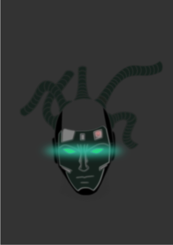 navigator by kolbasun - A futuristic head with rastas and cyan colored glowing eyes.