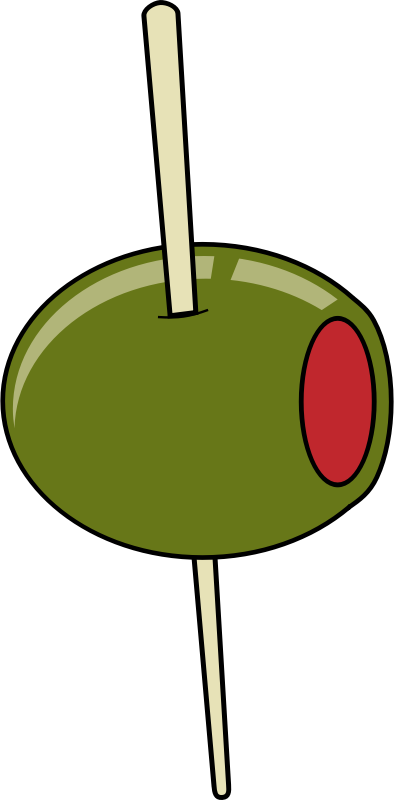 green olive on a toothpick by johnny_automatic