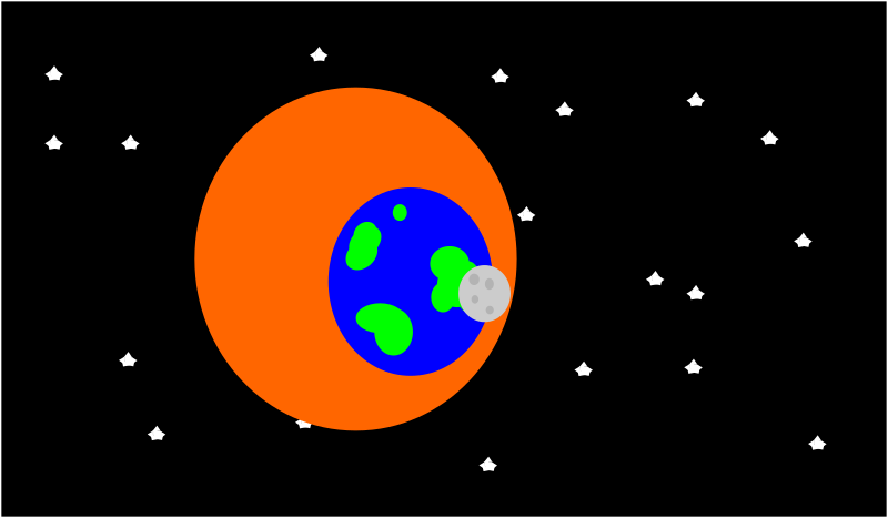 space by PeterBrough - aligned sun, earth, and moon in space --- cartoon