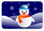 snowman glossy in winter scenery