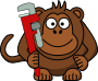 Cartoon Monkey with Wrench />