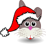 Funny bunny face with Santa Claus hat