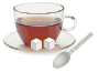 Glass cup with glass saucer, spoon and sugar cubes Thumbnail