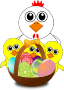 Funny Chicken and Chicks Cartoon Easter