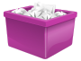Purple Plastic Box Filled With Paper