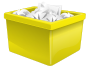 Yellow Plastic Box Filled With Paper