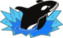 Evil Orca Cartoon Looking and Smiling with teeth