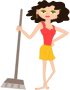 young housekeeper girl with broomstick