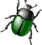 stylized green beetle />