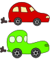 cartoon green and red cars