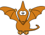 Cartoon pterodactyl with upraised wings