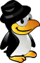 Tux with black hat