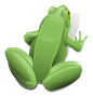 Green sitting frog