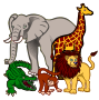 african animals - coloured