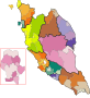 Peninsular Malaysia map, coloured