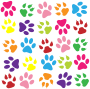 Colorful Paw Prints Pattern Background