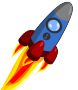 Animation of Rocket blue and red