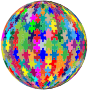 Multicolored Jigsaw Puzzle Pieces Sphere