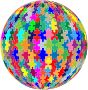 Multicolored Jigsaw Puzzle Pieces Sphere No Strokes