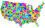 Flat Shaded Low Poly America USA Map