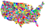 Flat Color Low Poly America USA Map