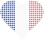 Heart France Flag Circles Stroked