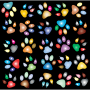 Colorful Paw Prints Pattern Background Reinvigorated 2