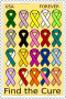 Cancer ribbons stamp