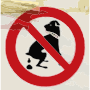 Dog pooping not allowed sign