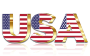 USA Flag Typography Gold With Reflection No Background