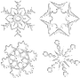 Set Of Four Snowflakes