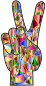 Chromatic Low Poly Peace Hand Sign